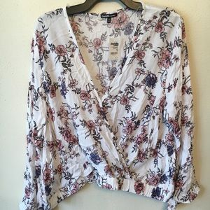 Floral, Flowy, V-Neck Blouse with fitted bottom